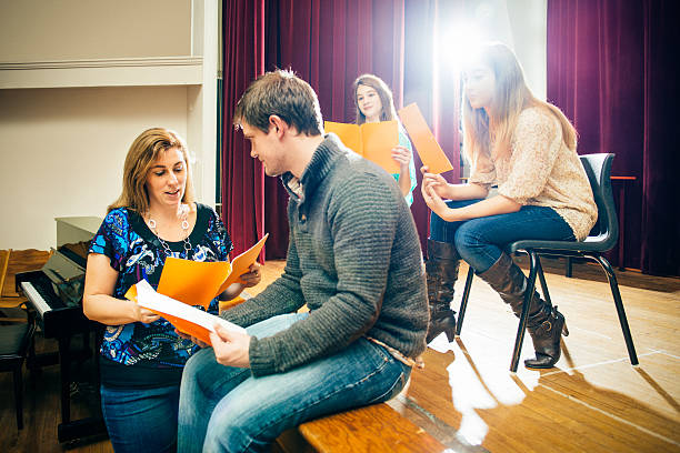 theater group rehearsing - stage theater stock pictures, royalty-free photos & images