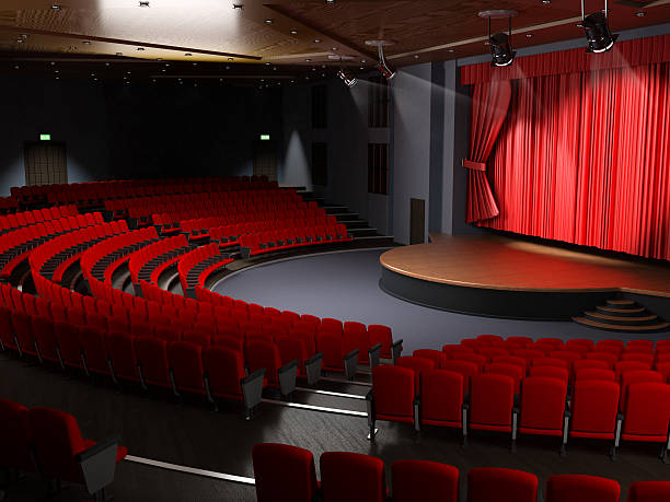 theater hall with empty seats - stage performance space stock pictures, royalty-free photos & images