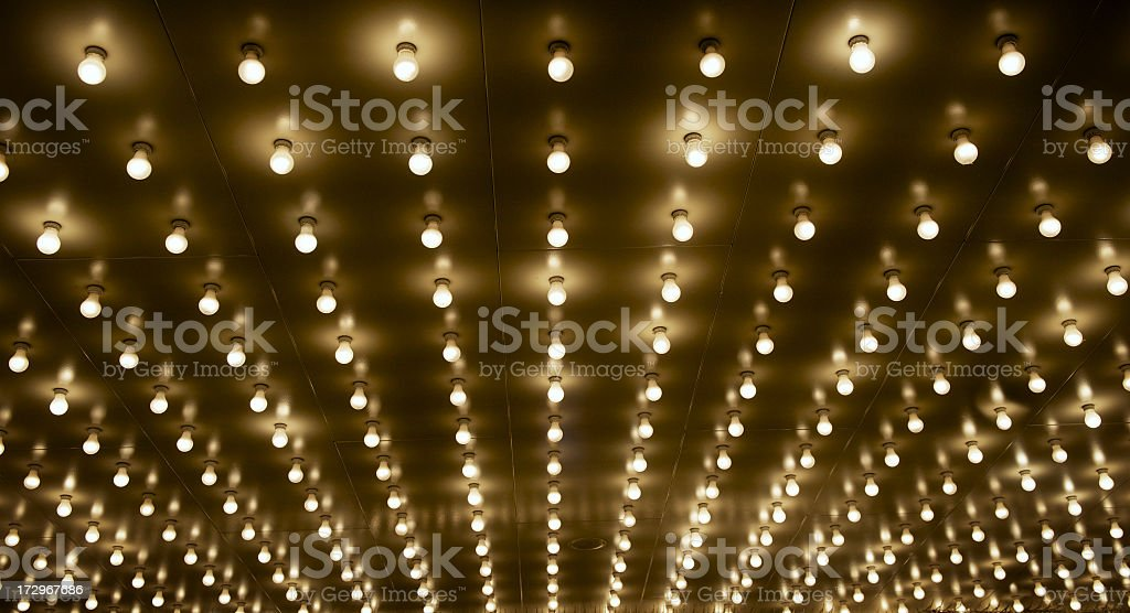 Theater light bulbs in many rows royalty-free stock photo