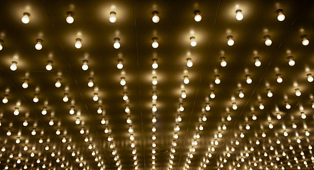 Theater light bulbs in many rows stock photo