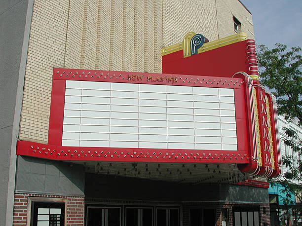 Theater Marquee A photograph of a classic theater marquee.  Simply add you text. theater marquee commercial sign stock pictures, royalty-free photos & images
