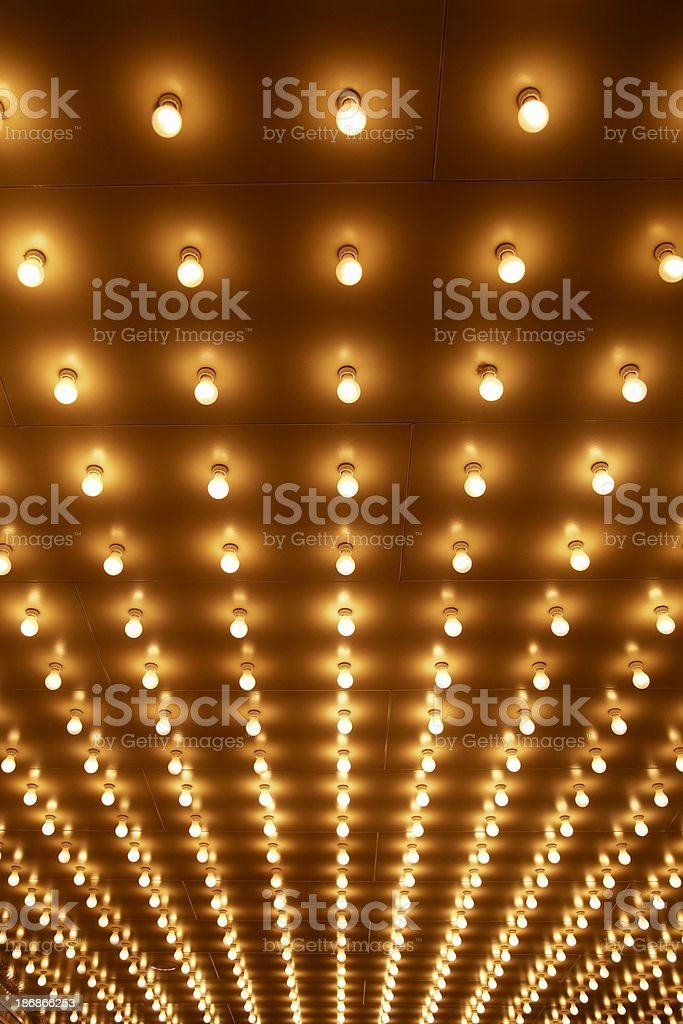Theater Marquee Sign Lights at a Theatre Entrance stock photo