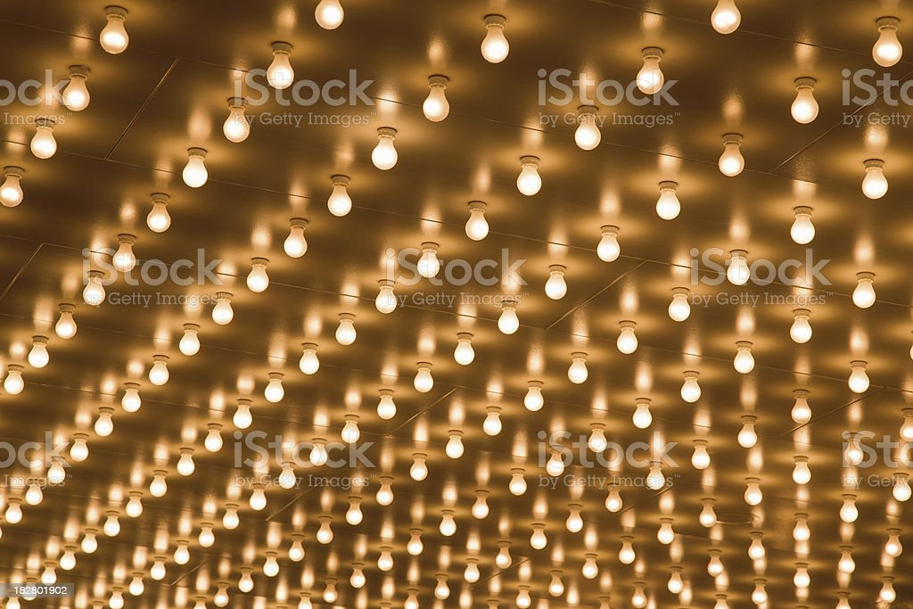 Theater Marquee Sign Lights in Rows on the Ceiling stock photo