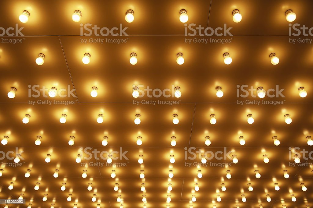 Theater Marquee Sign Lights in Rows on the Theatre Ceiling royalty-free stock photo
