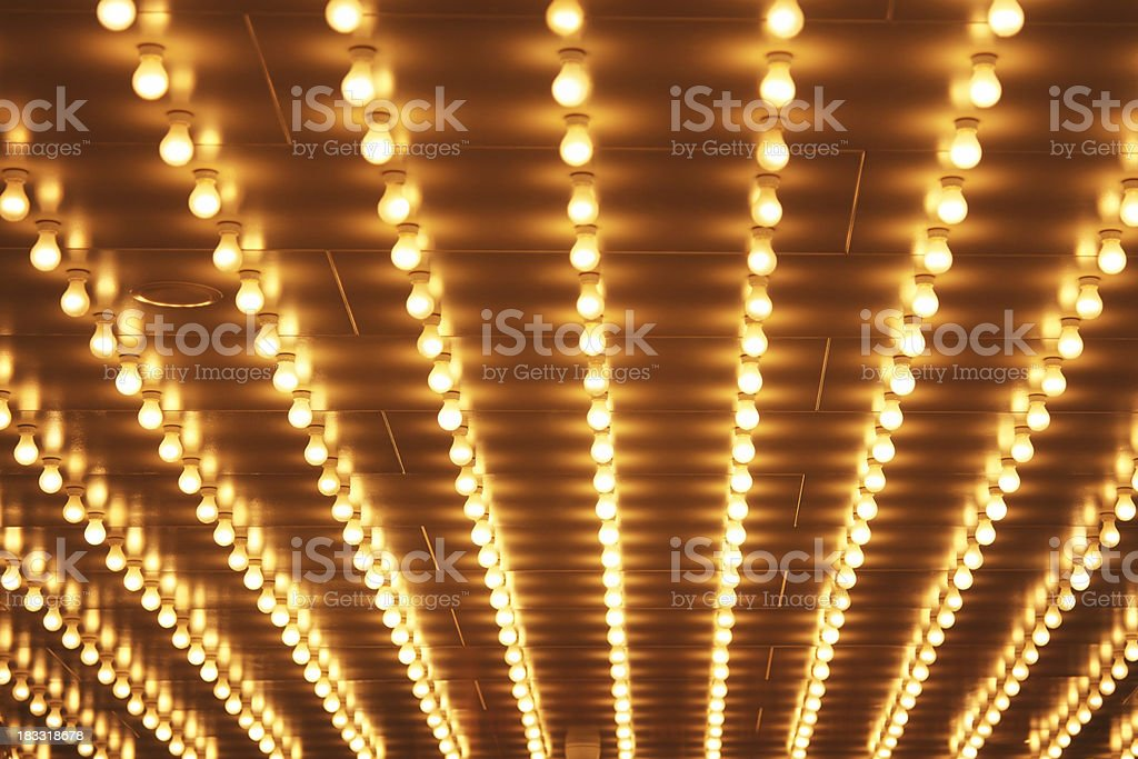 Theater Marquee Sign Lights in Rows on the Theatre Ceiling stock photo