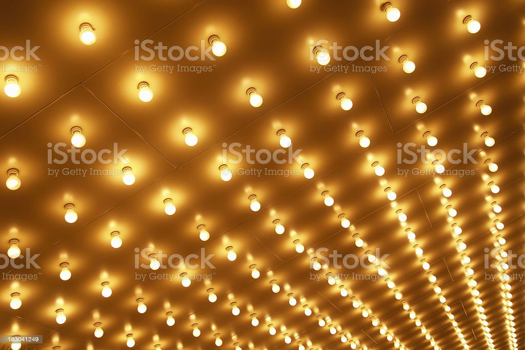 Theater Marquee Sign Lights on a Theatre Ceiling in Rows stock photo