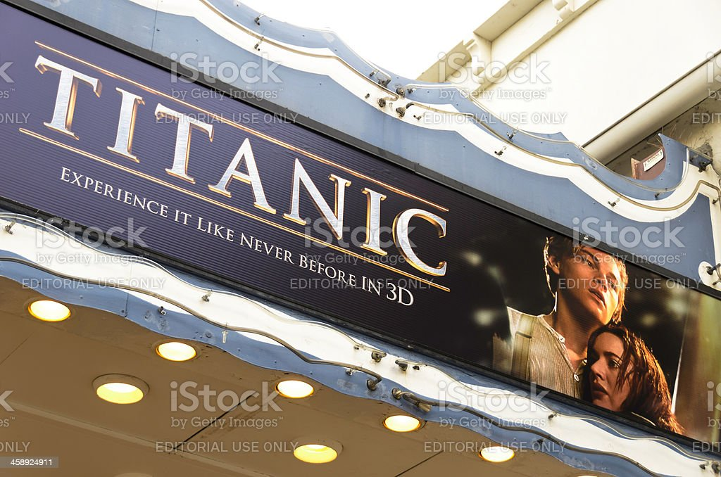 Theater Marquee with Titanic 3D Movie Poster stock photo