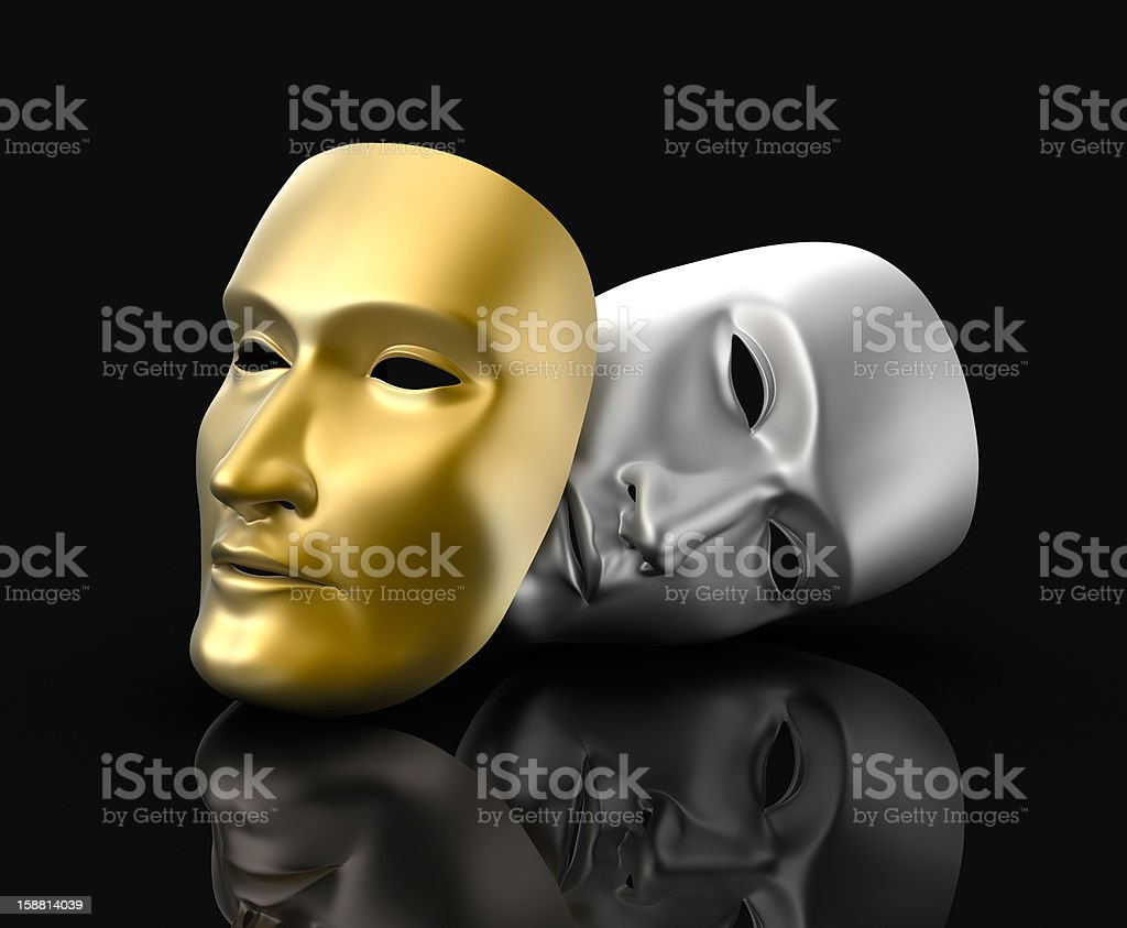 Theater masks concept. On black background. royalty-free stock photo