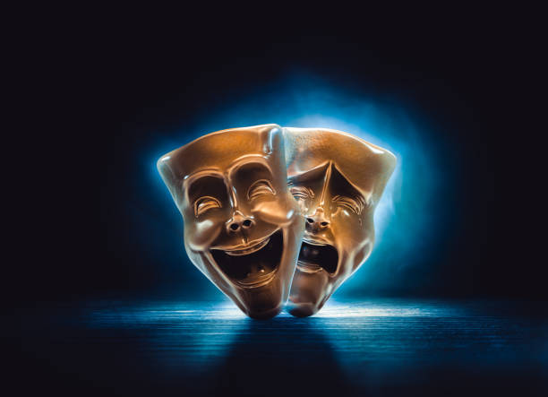 Theater masks on a dark background/ 3D rendering stock photo