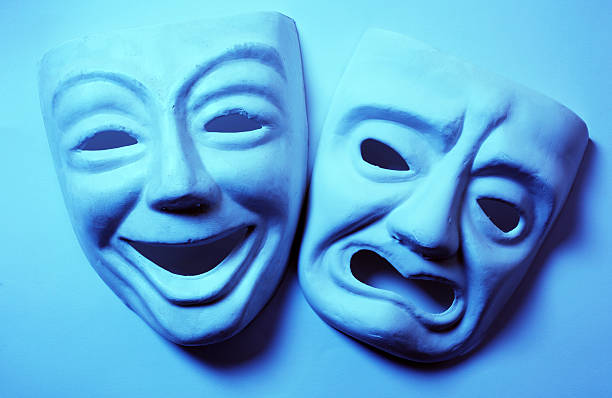 theater masks - tragedy mask stock photos and pictures