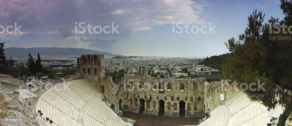Theater of Herodes Atticus at the Parthenon royalty-free stock photo