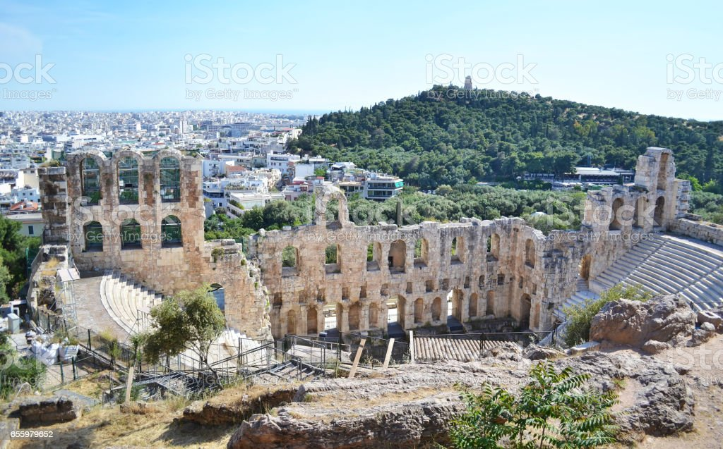 theater of Herodes Atticus Athens Greece stock photo