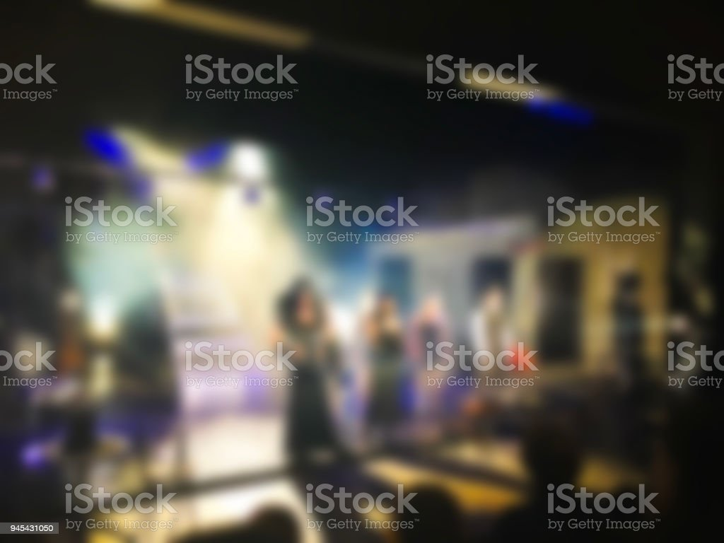 Theater play theme creative abstract blur background with bokeh effect stock photo