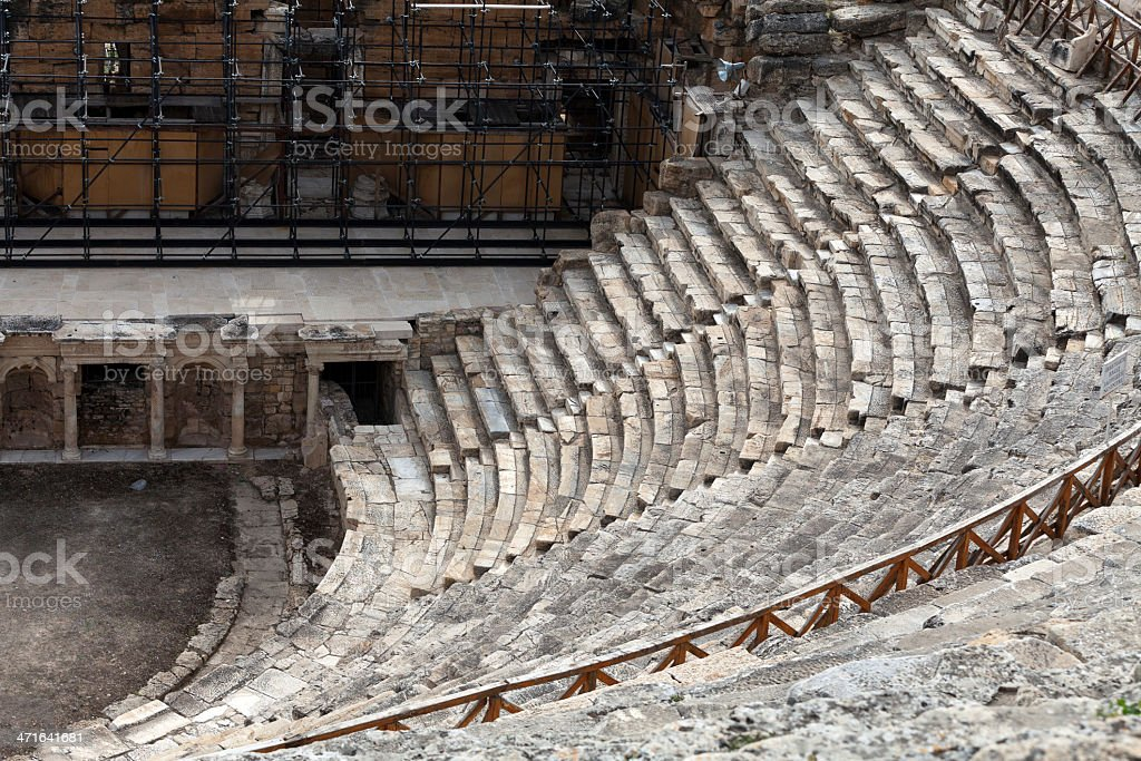 Theater ruins in Hieropolis stock photo