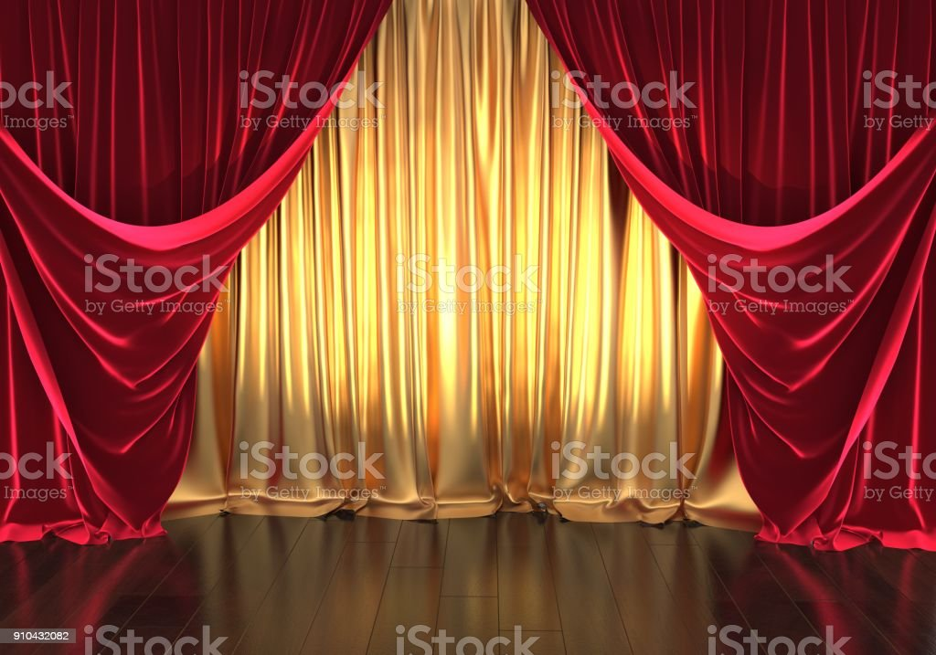 theater stage, golden curtains and red velvet royalty-free stock photo