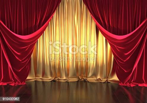 3D rendering, theater stage, golden curtains and red velvet