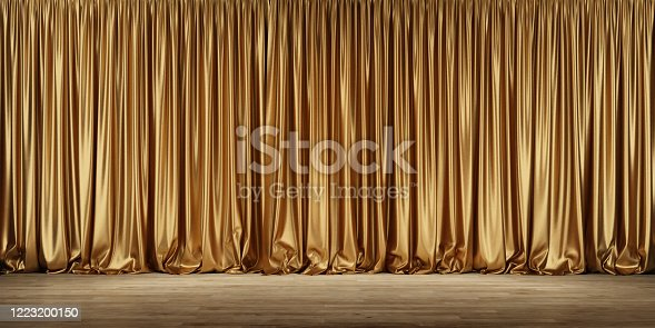Theater stage with golden curtains. 3d illustration