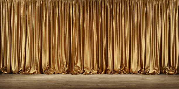 Theater stage with golden curtains. Theater stage with golden curtains. 3d illustration curtain stock pictures, royalty-free photos & images