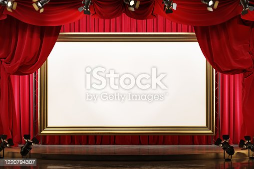 939154550 istock photo Theater stage with red velvet curtains and large picture frame. 1220794307