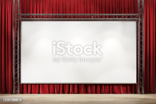 939154550 istock photo Theater stage with red velvet curtains and large picture frame. 1220795875