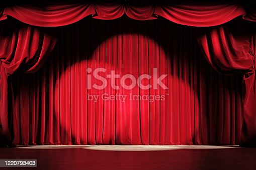 Theater stage with red velvet curtains and spotlights. 3d illustration