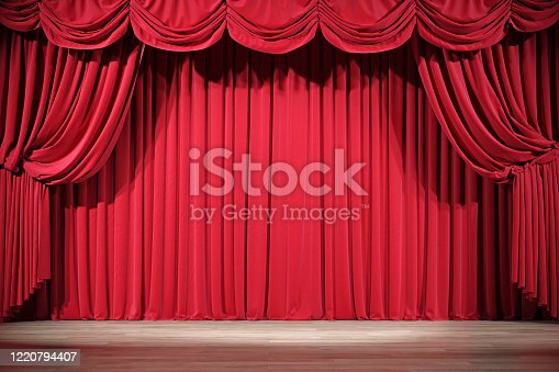 Theater stage with red velvet curtains. 3d illustration