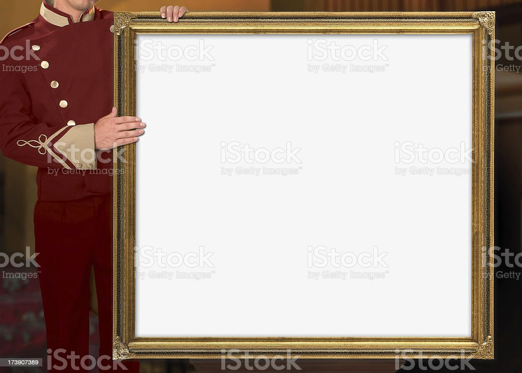 Theater Usher Holding Blank Marquee royalty-free stock photo