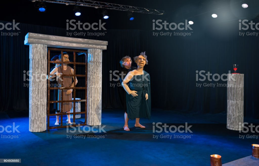 Theatre artists taking in drama stock photo