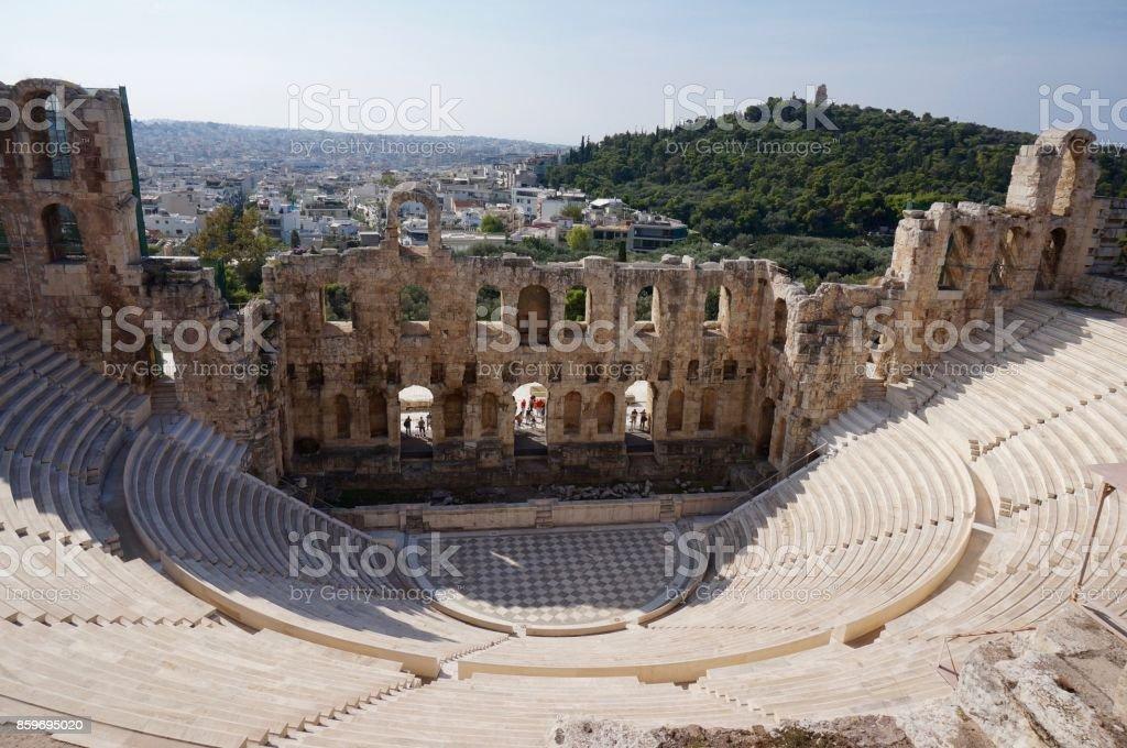Theatre at the Acropolis, Athens stock photo