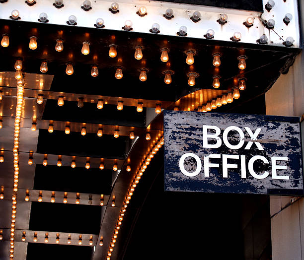 Theatre Box Office A distressed box office sign under the marquee of a downtown theatre theater marquee commercial sign stock pictures, royalty-free photos & images