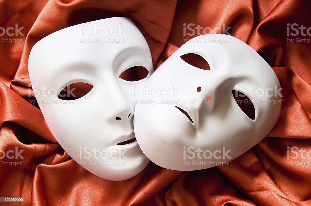 Theatre concept with the white plastic masks stock photo