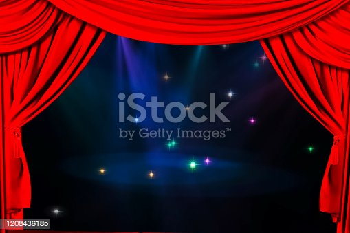939154550 istock photo Theatre curtain and lighting on stage. Illustration of the curta 1208436185