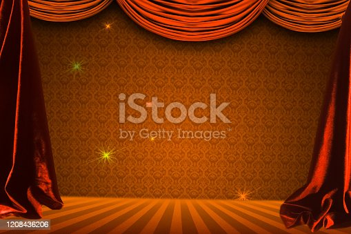 939154550 istock photo Theatre curtain and lighting on stage. Illustration of the curta 1208436206