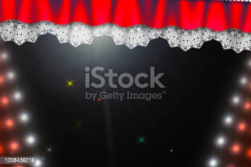 939154550 istock photo Theatre curtain and lighting on stage. Illustration of the curta 1208436216