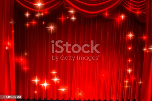 939154550 istock photo Theatre curtain and lighting on stage. Illustration of the curta 1208436233