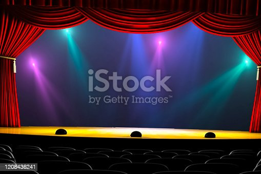 939154550 istock photo Theatre curtain and lighting on stage. Illustration of the curta 1208436241
