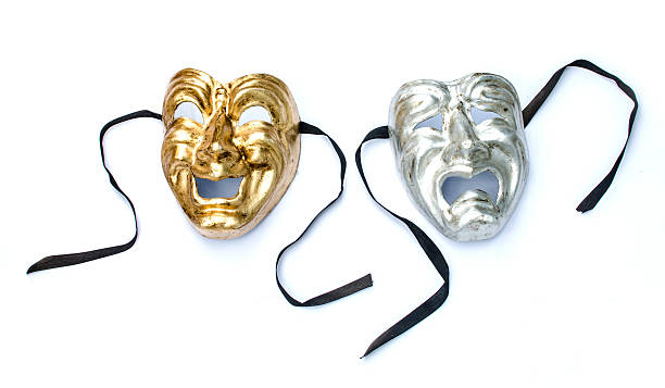 Theatre masks on white stock photo