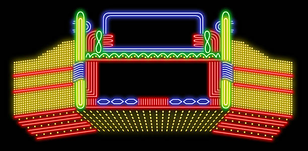 Theatre neon sign Blank theatre neon sign. theater marquee commercial sign stock pictures, royalty-free photos & images