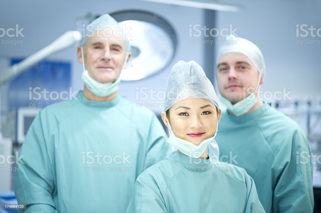 theatre nurse and team stock photo