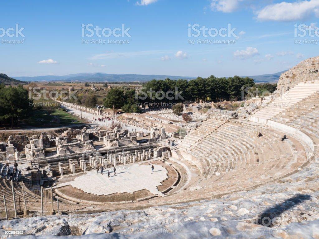 Theatre of Ephesus Ancient City at november at sunny day, Turkey. stock photo