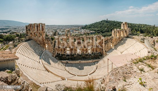 The Theatre of Herod Atticus in Athens, Greece, at the foot of the Acropolis hill