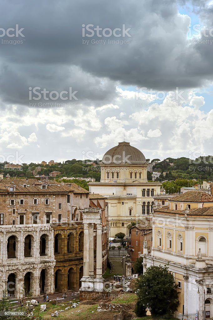 Theatre of Marcellus and The Great Synagogue stock photo