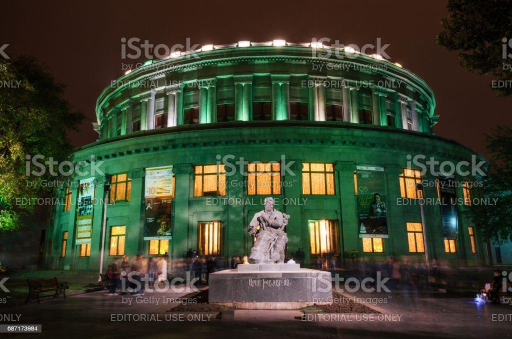 Theatre of Opera and Ballet of Armenia at night, Yerevan stock photo