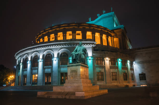 Theatre of Opera and Ballet of Armenia at night, Yerevan stock photo