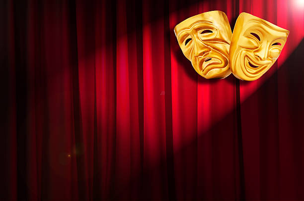 theatre performance concept with masks - tragedy mask stock photos and pictures