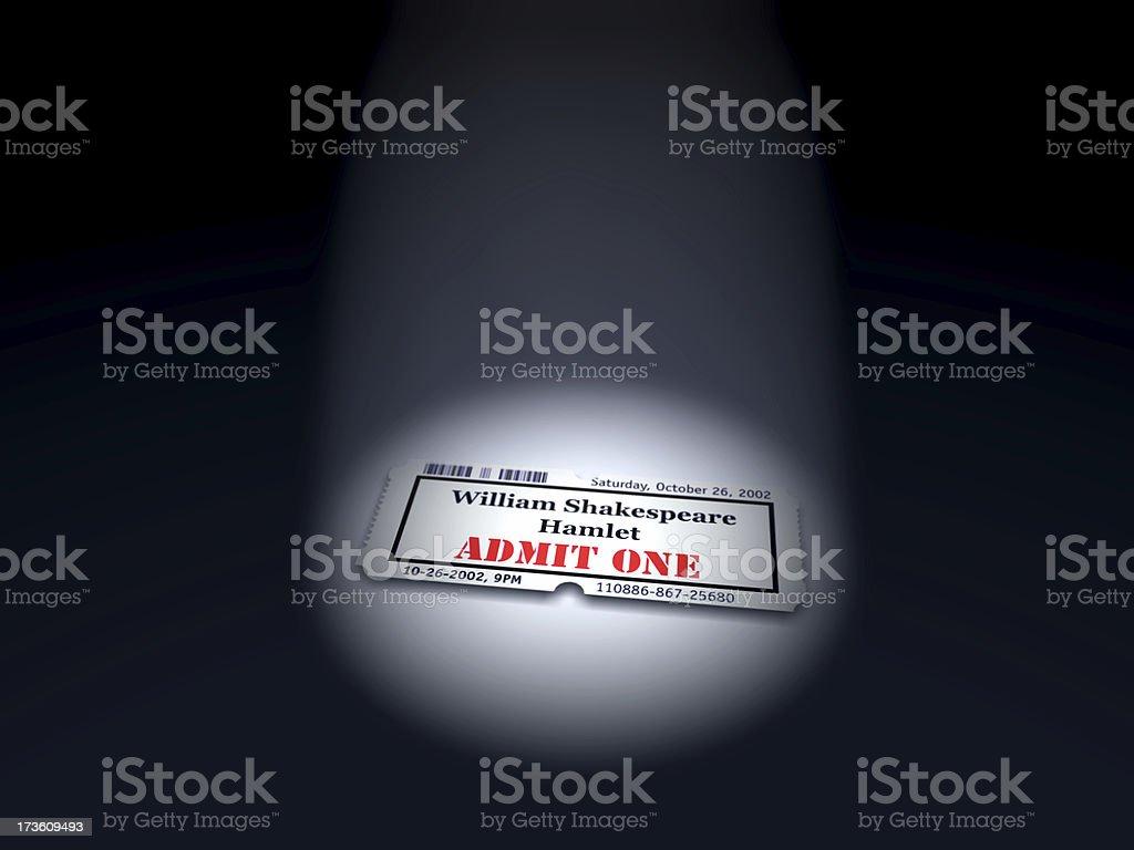 Theatre Ticket in Spotlight royalty-free stock photo