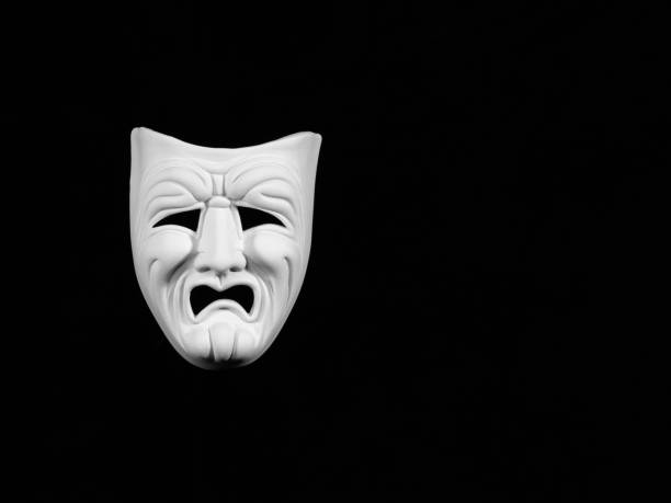 theatre tragedy mask - tragedy mask stock photos and pictures