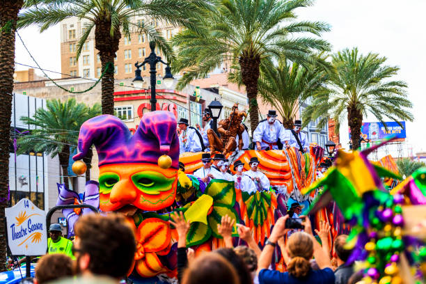 Theatrical Company's  Parde Floats  -  New Orleans stock photo
