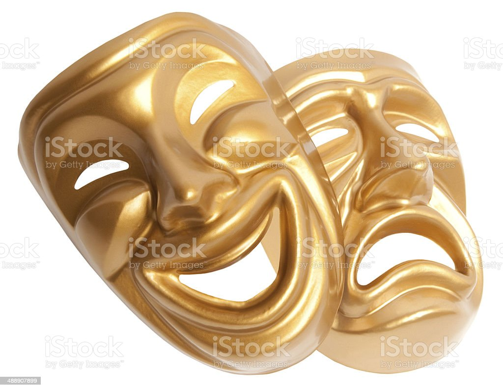theatrical mask isolated on a white background stock photo