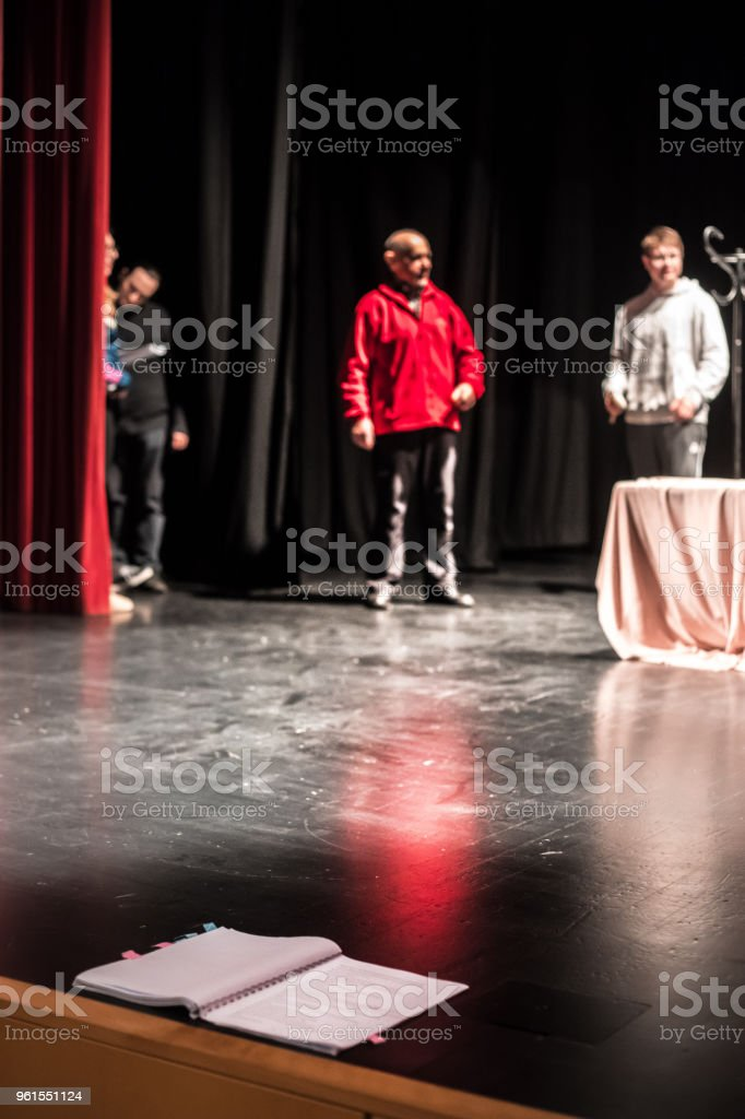 Theatrical Play Script on Stage During Rehearsal.